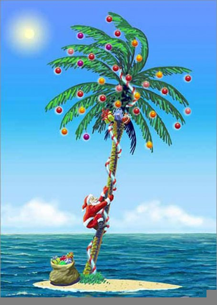 Tropical Florida Christmas Clipart.