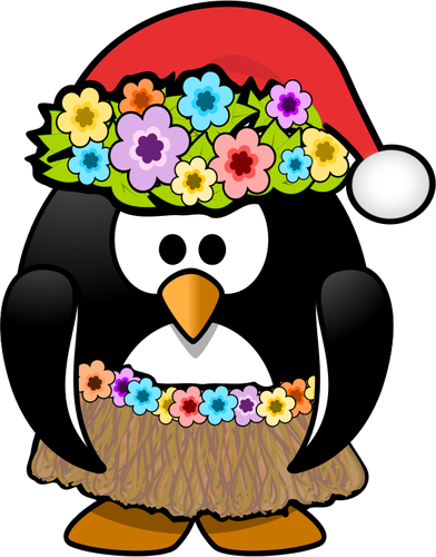 Hula penguin ready with Christmas hat vector clip art.