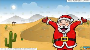 Santa Claus Rejoicing The Christmas Holiday and Sand Dunes In The Desert  Background.