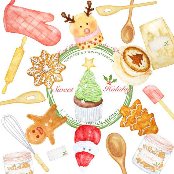 Sweet Christmas Clipart, Watercolor Dessert Clip art Instant.