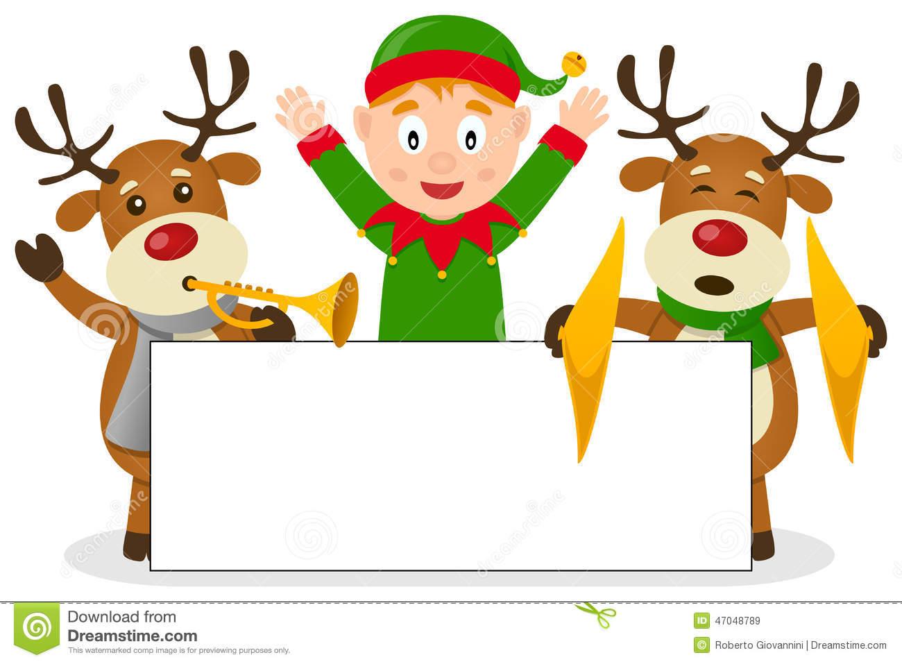 Christmas Elf & Reindeer With Banner Stock Vector.
