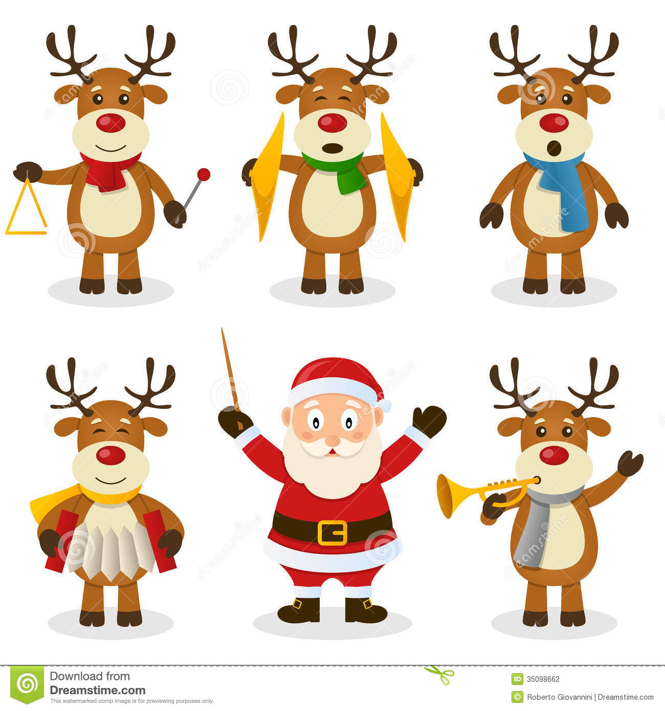 Reindeer Christmas Orchestra Set Stock Vector.