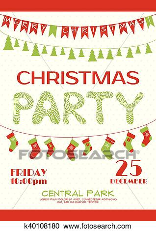 Christmas party invitation poster template Clipart.