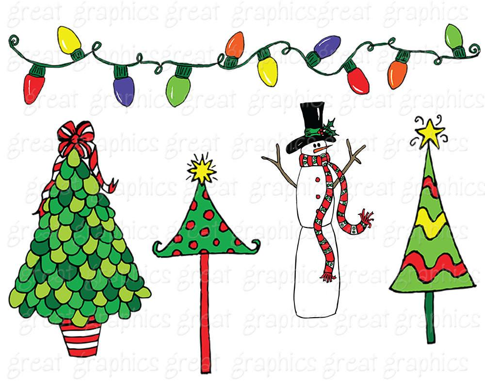 Christmas Doodle Clip Art, Christmas Tree Clip Art, Christmas Wreath Clip  art, Holiday clipart, Invitation Clip Art.