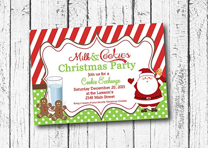 Amazon.com: Milk and cookies Christmas Party Invitation, Cookie.