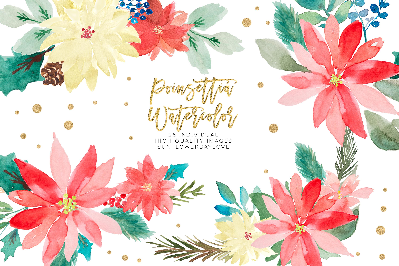 Poinsettia clipart, Christmas Wedding Invitation clipart.