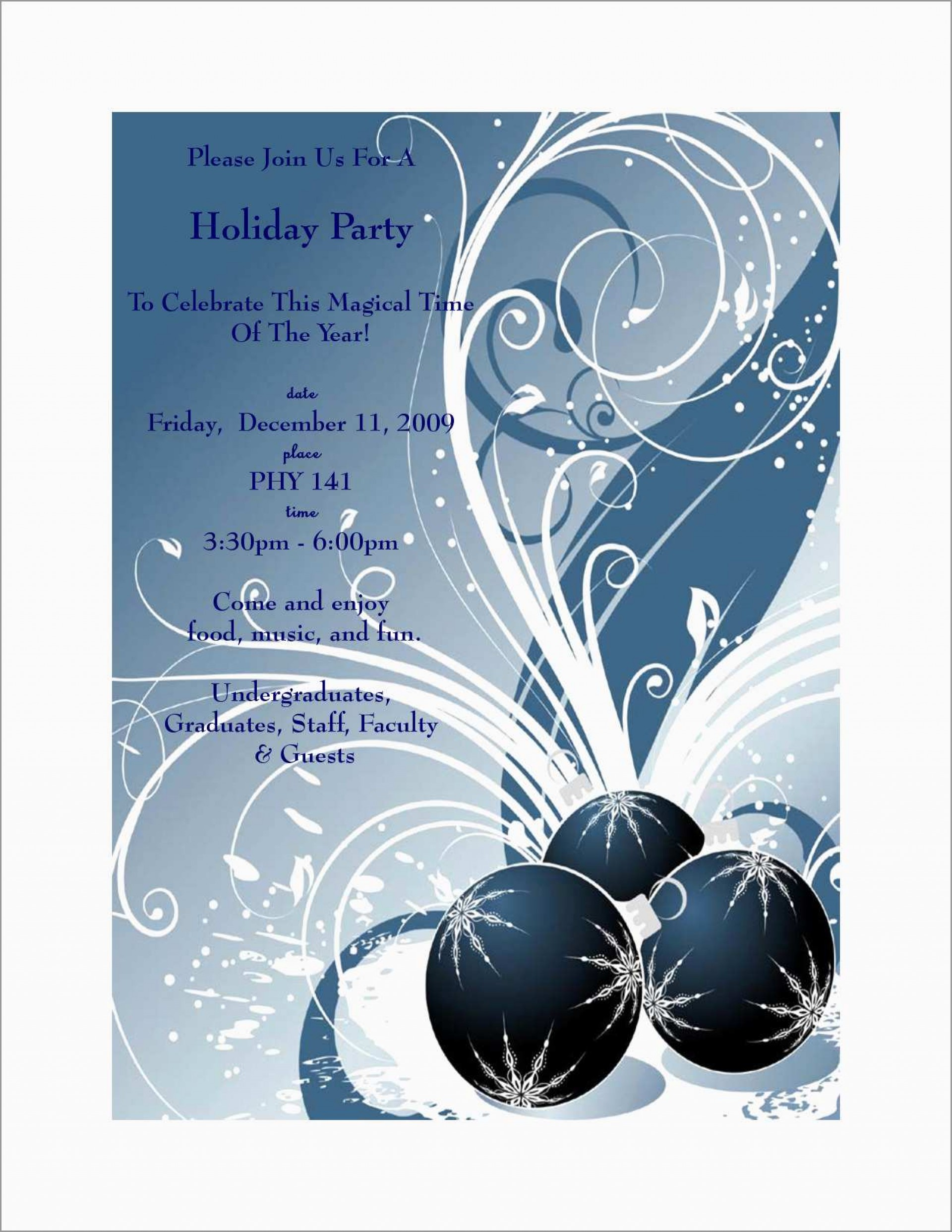002 Free Holiday Invite Templates Template Ideas.