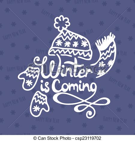 Vector Clipart of Winter is coming. Christmas Background. Vector.