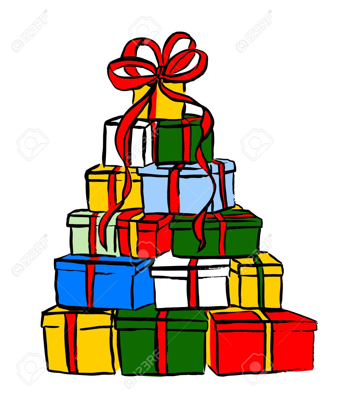 Stack of Christmas gifts. Ink sketch isolated n white. Clip art.