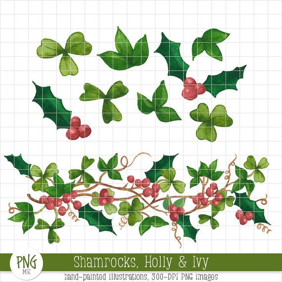 Celtic Christmas Watercolor Clipart.