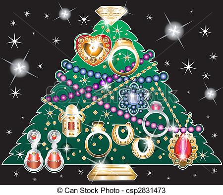 Vector Illustration of jewelry christmas tree with gold curtains.