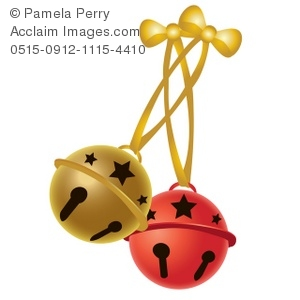 Clip Art Illustration of a Pair of Christmas Jingle Bells.