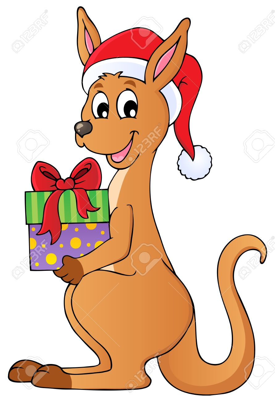 Christmas kangaroo theme image illustration.