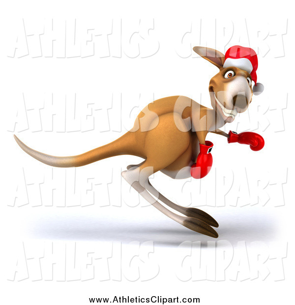 Clip Art of a 3d Christmas Kangaroo Boxer Hopping by Julos.