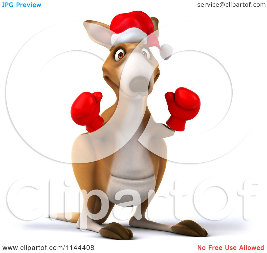 Clipart of a 3d Aussie Christmas Kangaroo Boxer Ready to Fight.