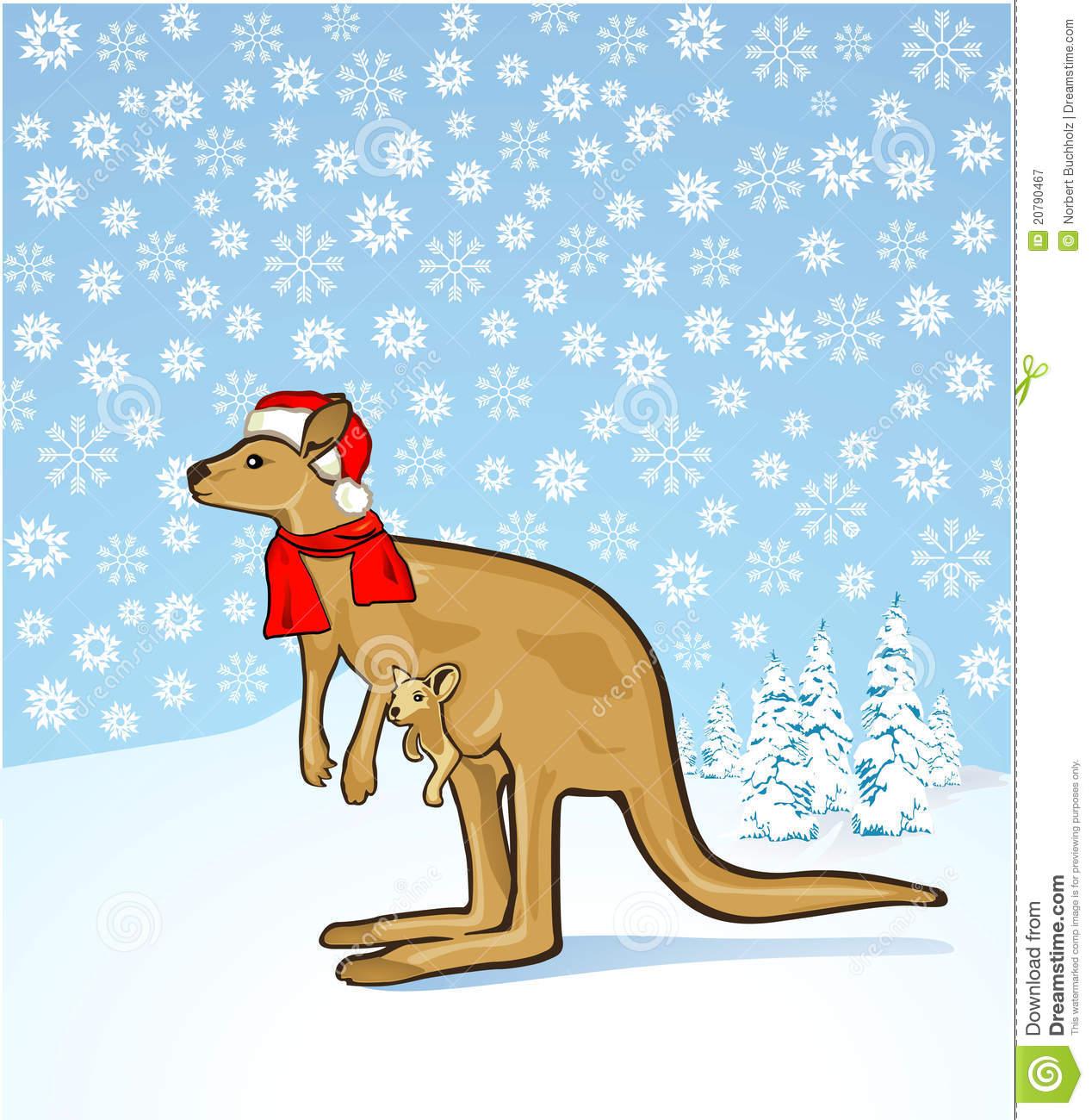 Christmas kangaroo stock vector. Illustration of snowing.