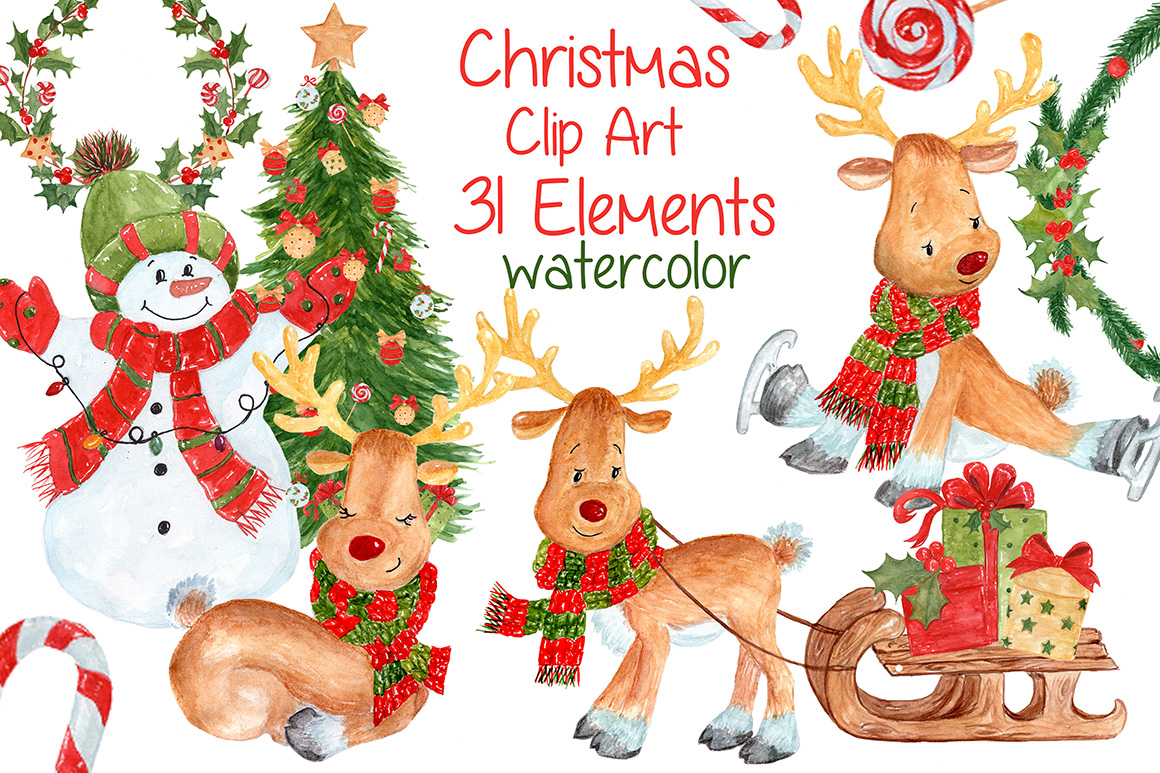 Watercolor Christmas kids clipart.
