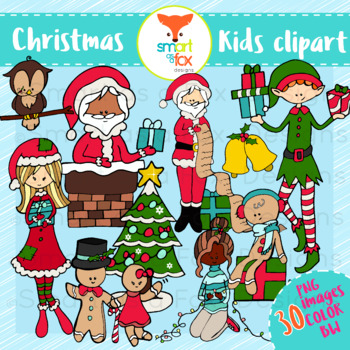 Christmas Kids Winter Clipart Personal and Commercial Use.