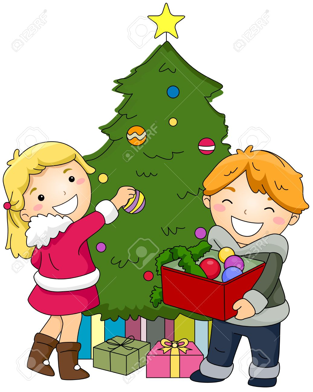 Kids Decorating Christmas Tree Clipart.