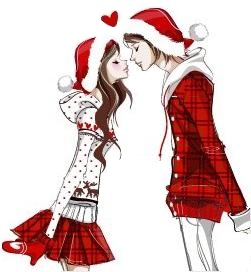 Christmas kisses clipart.