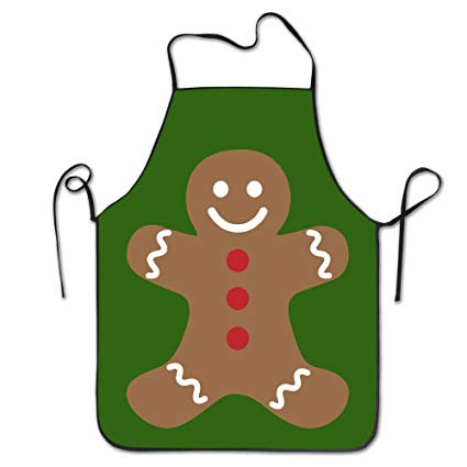 Unisex Gingerbread Man Merry Christmas Kitchen Apron Cooking Cafe Apron.
