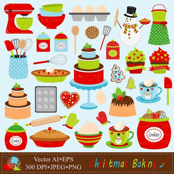 Christmas Baking Clip Art, Holiday Baking Clipart, Christmas Kitchen  Cookies Cake Digital Vector Clip Art, Lets bake Clipart.
