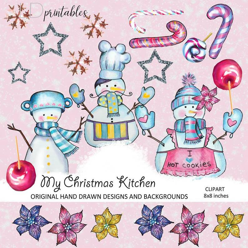 Christmas Kitchen clipart, Snowman clipart, Winter holiday cooking clipart.