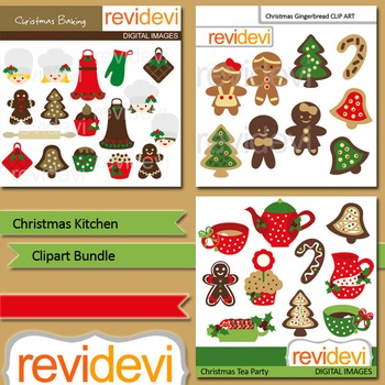 Christmas clip art: Christmas Kitchen clipart bundle (3 packs).