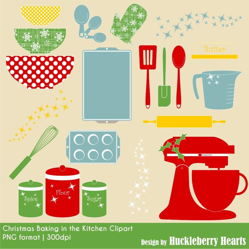 Christmas Kitchen Baking Clipart, Digital Clip Art, Holiday Baking Clipart,  Clip Art, Digital Christmas Clipart.