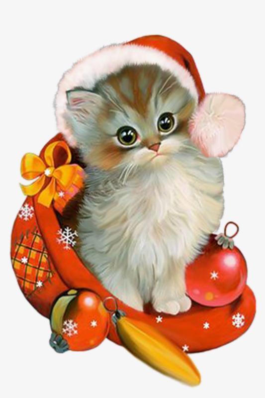Christmas kitten clipart 6 » Clipart Station.