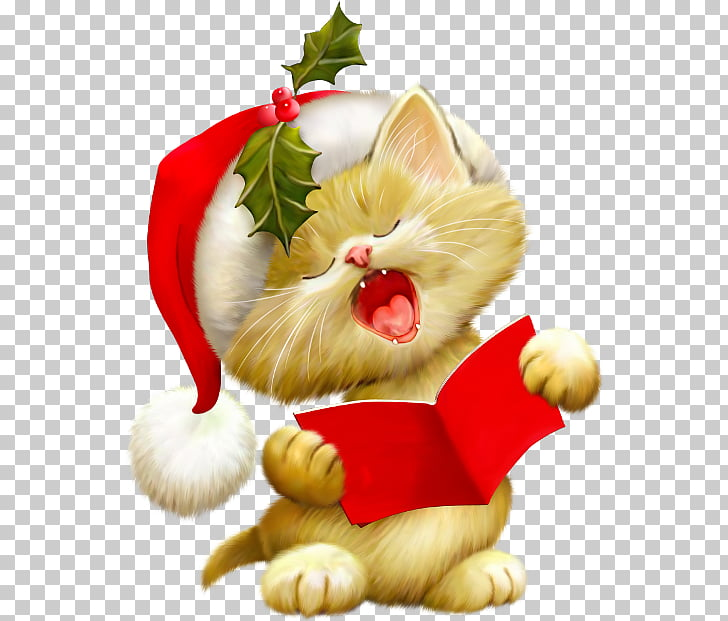 Kitten Santa Claus Cat Christmas , kitten PNG clipart.