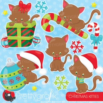 Christmas cats clipart commercial use, graphics, digital clip art.