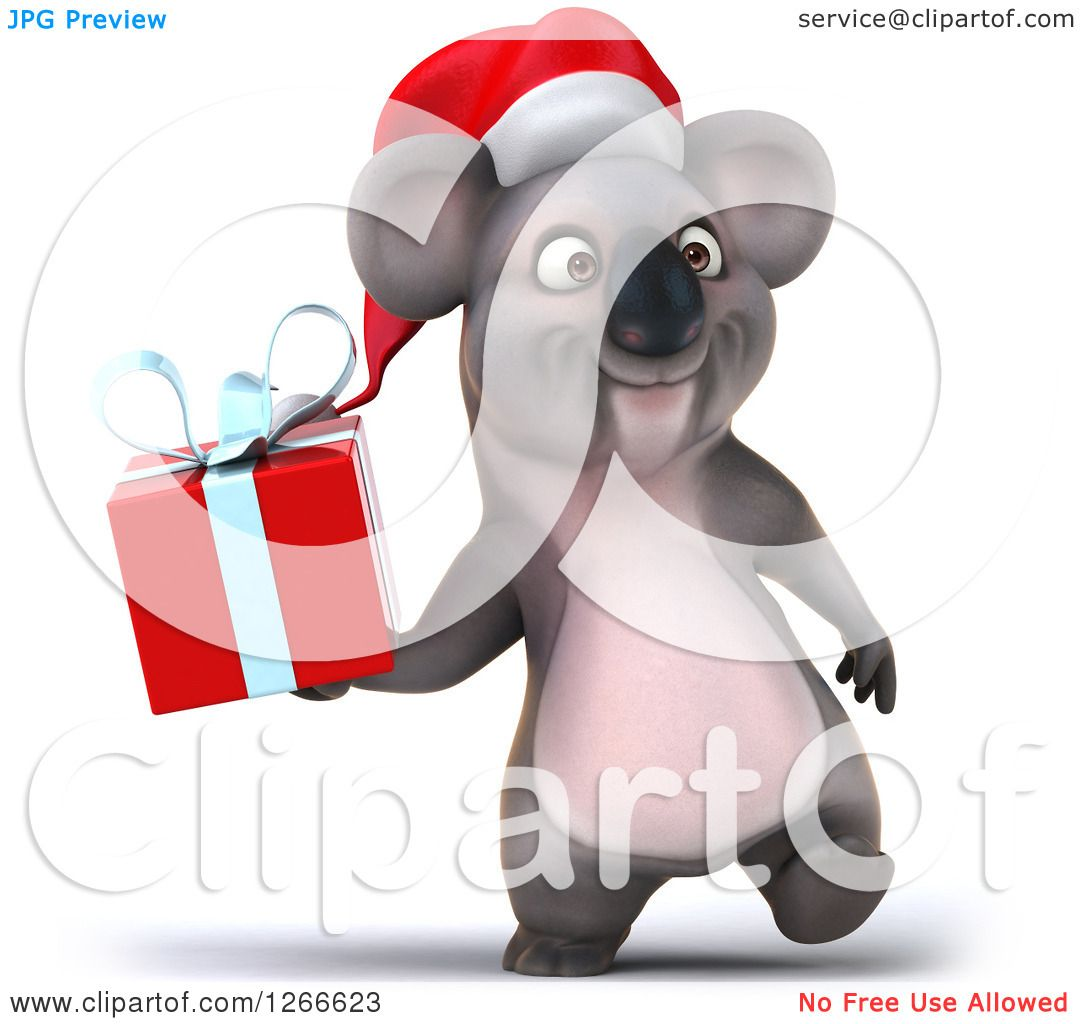 Clipart of a 3d Christmas Koala Walking and Holding a Gift.