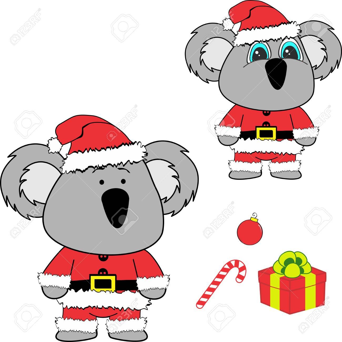 Christmas baby koala cartoon..