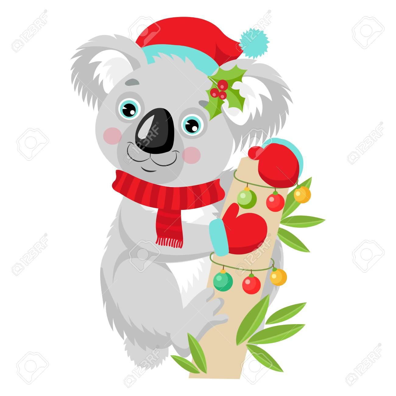 Funny Koala Christmas Vector. Merry Christmas From Australia.