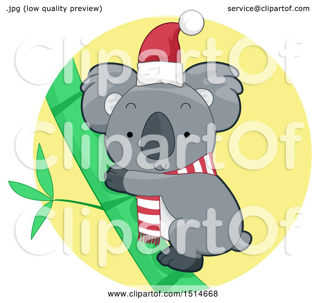 Clipart of a Christmas Koala Wearing a Scarf and Santa Hat.