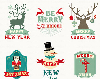 Christmas label clipart.