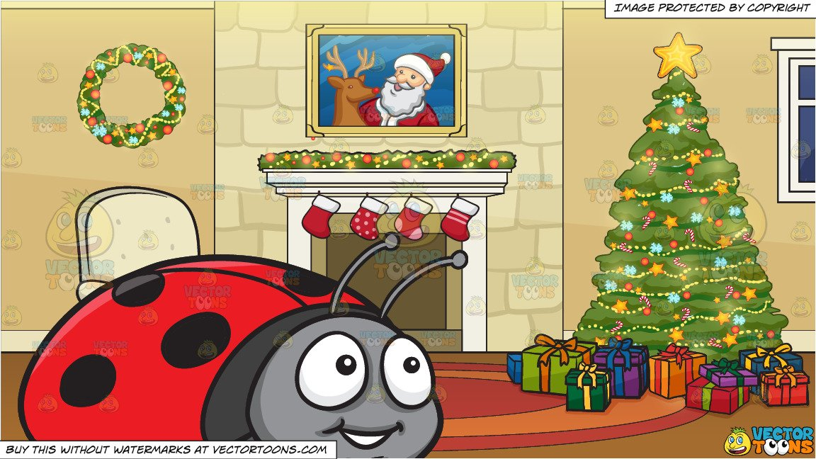 A Smiling Ladybug and A Fireplace Beside A Christmas Tree Background.