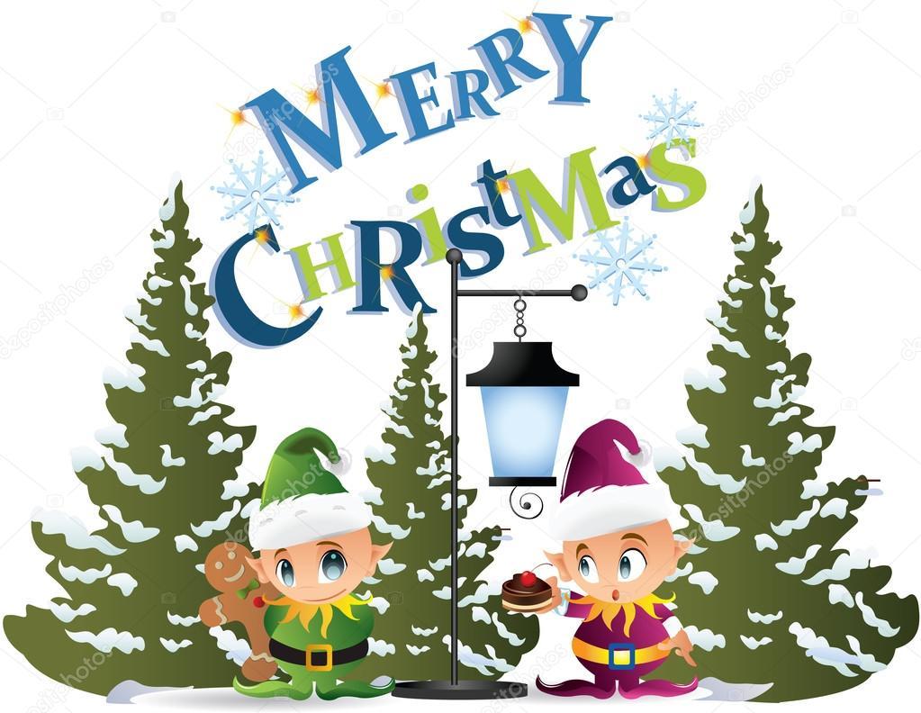 Christmas lamp post clip art.