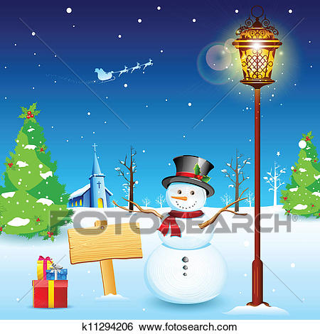 Snowman under Lamp post Clip Art.
