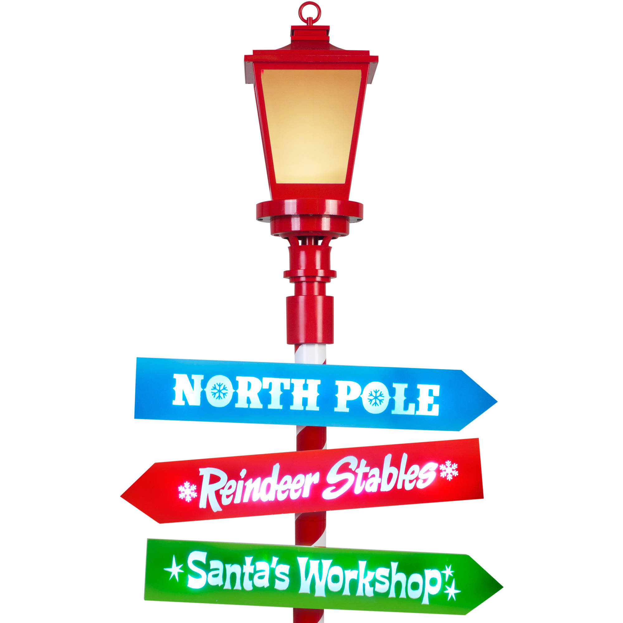 Gemmy Lightshow Christmas Lights 6' Projection Lamp Post with Lighted  Signs, Electro.