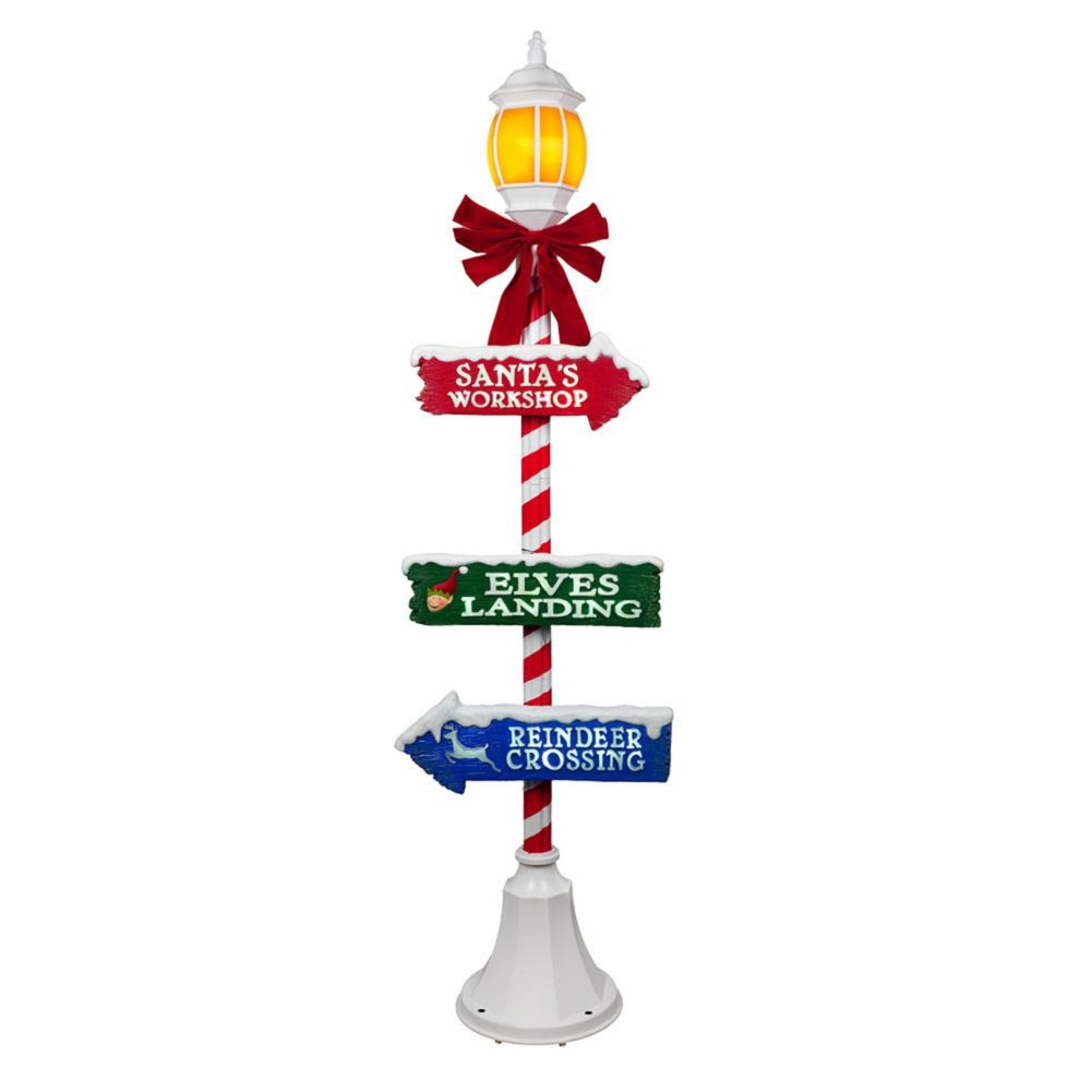 Home Accents Holiday 72 in. Holiday Candy Cane Lamp Post with LED  Illuminated Lantern.
