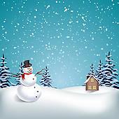 Clipart of Christmas Landscape k11798200.