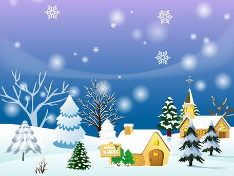 Christmas Town Background or Winter Landscape, Clipart.