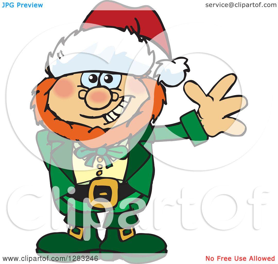 Clipart of a Friendly Waving Leprechaun Wearing a Christmas Santa.