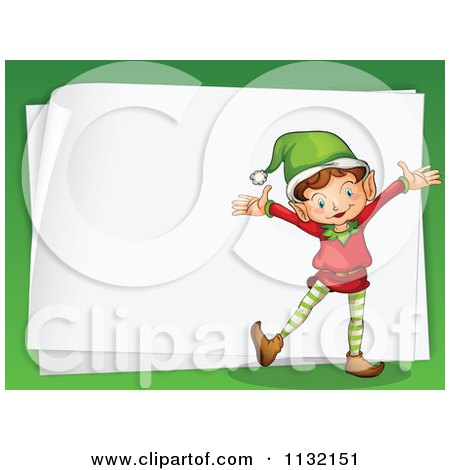 Cartoon Of A Blank Christmas Letter Paper With A Gift 2.