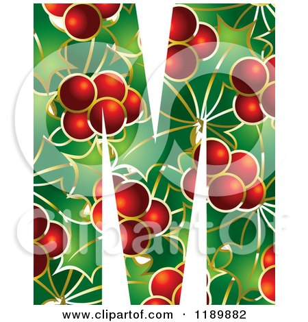 Clipart of a Christmas Holly and Berry Capital Letter B.