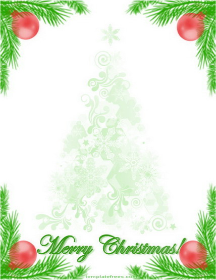 Printable Border With Christmas Tree Branch Decoration.