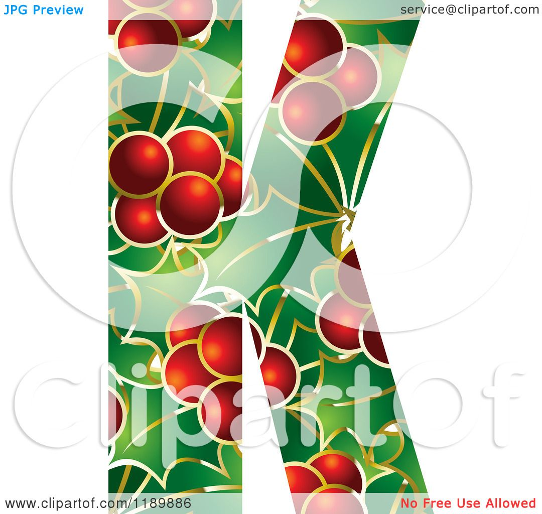 Clipart of a Christmas Holly and Berry Capital Letter K.