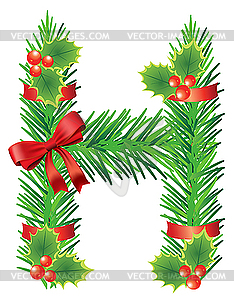 letter H made of fir branches.